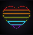 neon lgbt rainbow heart sign bright gay pride vector image