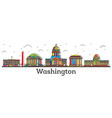 outline washington dc usa city skyline with color vector image vector image