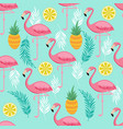 pink flamingo pineapples and exotic leaves vector image vector image