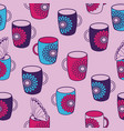 pink tea mugs with butterflies seamless vector image