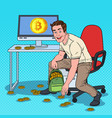 pop art businessman put bitcoins in backpack vector image vector image