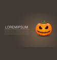 pumpkin for halloween dark banner vector image vector image
