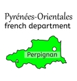 Pyrenees-Orientales french department map vector image vector image