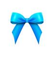 realistic shiny blue satin bow isolated vector image