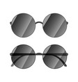 round glossy sunglasses with black rim on white vector image vector image