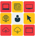 set of 9 online connection icons includes mouse vector image vector image