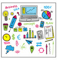 set of colorful business elements hand drawn vector image