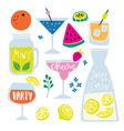 set of hand drawn alcoholic and soft drinks vector image