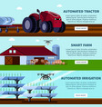 smart farming orthogonal flat banners vector image vector image