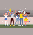 soccer or football people fans celebrate goal vector image