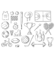 Sport balls items sketch isolated icons vector image
