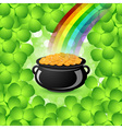 St Patricks Day Cauldron with Gold Coins vector image vector image