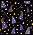 starry wizard hats seamless pattern vector image vector image
