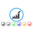 startup sales chart rounded icon vector image