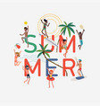 summer design element with happpy people vector image vector image