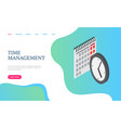 time management website calendar and clock vector image vector image