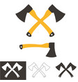 two crossed axes isolated on white vector image vector image