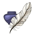 Vintage inkwell and feather vector image vector image