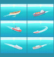water transport cruise liners yacht set vector image vector image