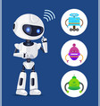 white robot sendind radio waves colorful banner vector image