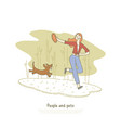 woman playing with dachshund dog girl throwing vector image