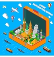 World Landmarks In Suitcase Isometric Poster vector image vector image