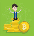 young businessman sitting on gold bitcoin coins vector image