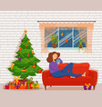 young woman reading book sitting on the sofa vector image