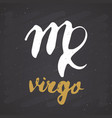 zodiac sign virgo and lettering hand drawn vector image