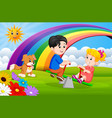 two children and dogs playing seesaw in the park vector image