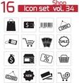 black shop icons set vector image