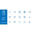 15 molecular icons vector image vector image