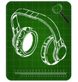 3d model of headphone on a green vector image vector image