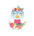 bird with flowers vector image vector image
