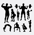 Body builder male and female sport silhouette vector image vector image