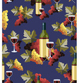 Bottle and glass wine seamless pattern vector image