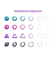 Cartoon colorful gemstones explosion frames vector image vector image