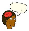 cartoon head with brain symbol with speech bubble vector image