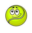 Cartoon tennis ball with a wry smile vector image