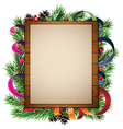 Christmas tree branches and wooden billboard vector image vector image