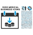 Coins Income Calendar Day Icon With 1000 Medical vector image vector image