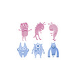 colection of cute monsters blue and purple funny vector image vector image