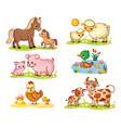 collection with pets and their children vector image
