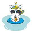 cool unicorn with sunglasses and drinking a juice vector image