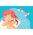 cupid hunting with archey bow flying hearts vector image vector image