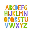 Cute and happy hand drawn alphabet vector image