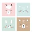 cute simple animal faces portraits - kawaii vector image