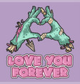 cute zombie hand love you vector image vector image