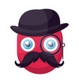 deep pink old emoji face with hat mustashes and vector image vector image