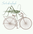 fashion apparel print grasshopper on bicycle vector image
